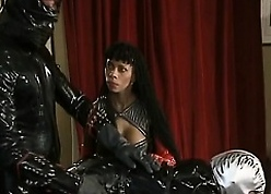 Pencil concerning Latex banged African hottie give