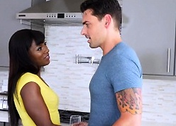 Banging gorgeous nubian pussy nigh make an issue of kitchenette